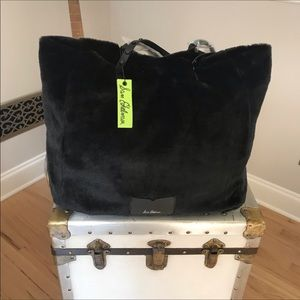 Sam Edelman Large Black Faux Fur Tote. NWT